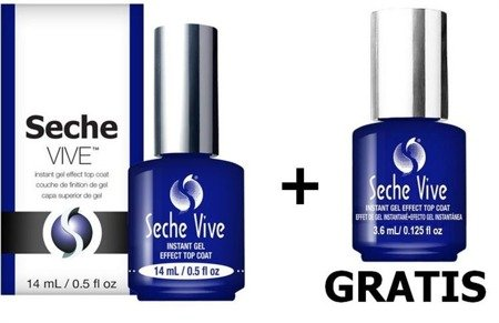 SECHE VIVE szybkoschnący top coat gel effect 14 ml + Vive 3,6ml GRATIS